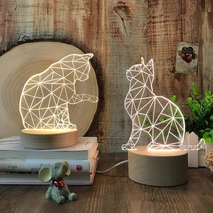 男女生日朋友礼物刻字床头台灯夜灯3d北欧实木创意动物小猫