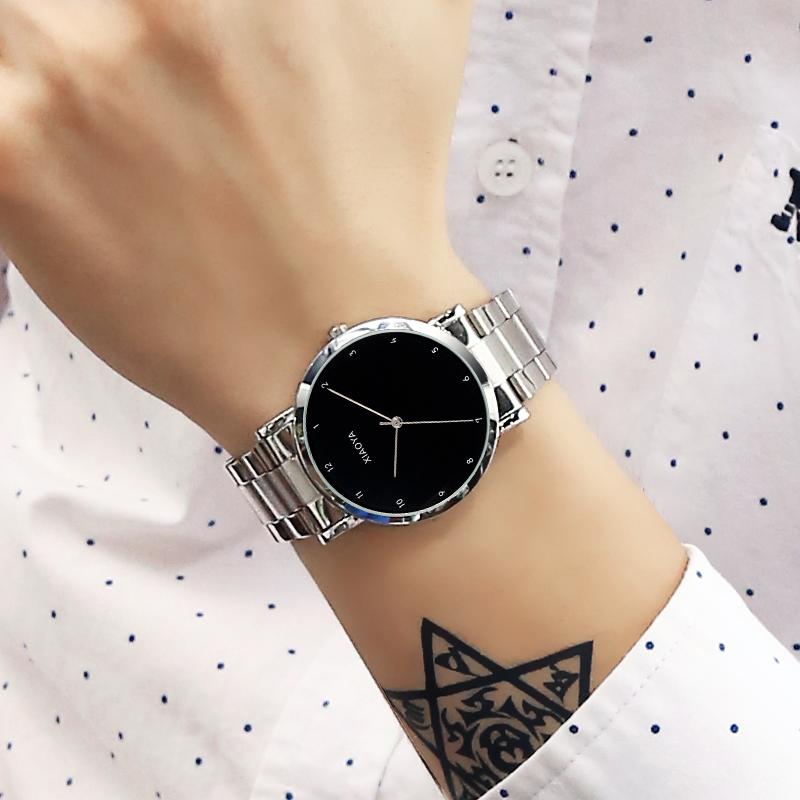 正品时尚钢带手表男士非自动机械男表不锈钢表带女装夜光防水情侣
