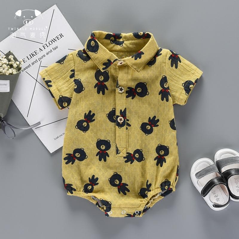 宝宝爬爬服包屁衣三角短袖婴儿衬衫夏季外出连体
