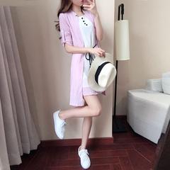 雪纺连衣裙女装夏季2018新款韩版腰带柔美显瘦裙子套装两件套夏装