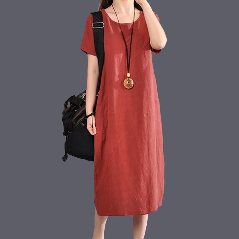 夏季新款复古文艺大码宽松棉麻圆领连衣裙女休闲亚麻短袖中长裙子
