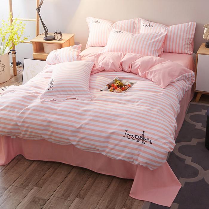 斜纹纯色刺绣公主三件套被套四件套床上用品床单条纹简约