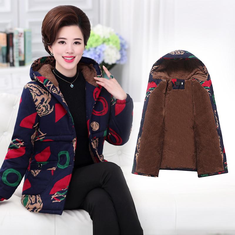 中老年女装冬装大码棉衣中年40-50岁加绒加厚棉服妈妈装带帽外套