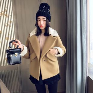 春季韩版拼接加厚羊羔毛呢外套女短款2017新款宽松翻领呢子大衣潮