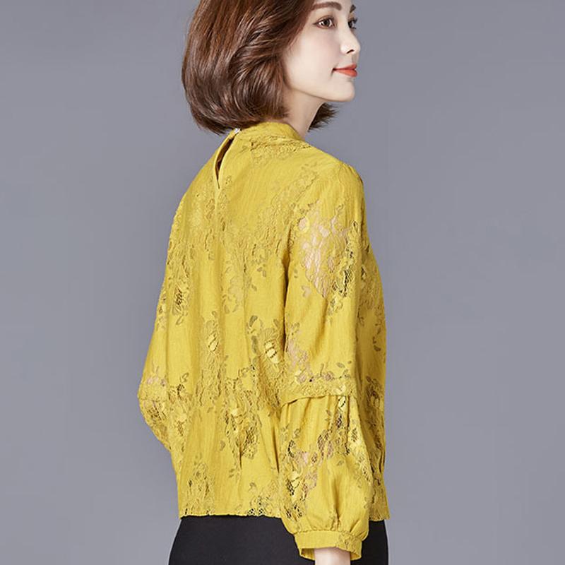 春秋蕾丝打底衫女式t恤衫短款 韩版潮大码宽松显瘦小衫灯笼袖上衣