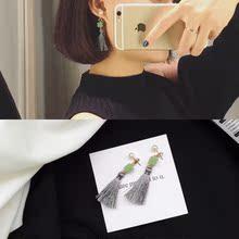 韩国气质简约立体玉石珍珠灰色流苏耳钉女耳环个性耳坠耳饰品R326