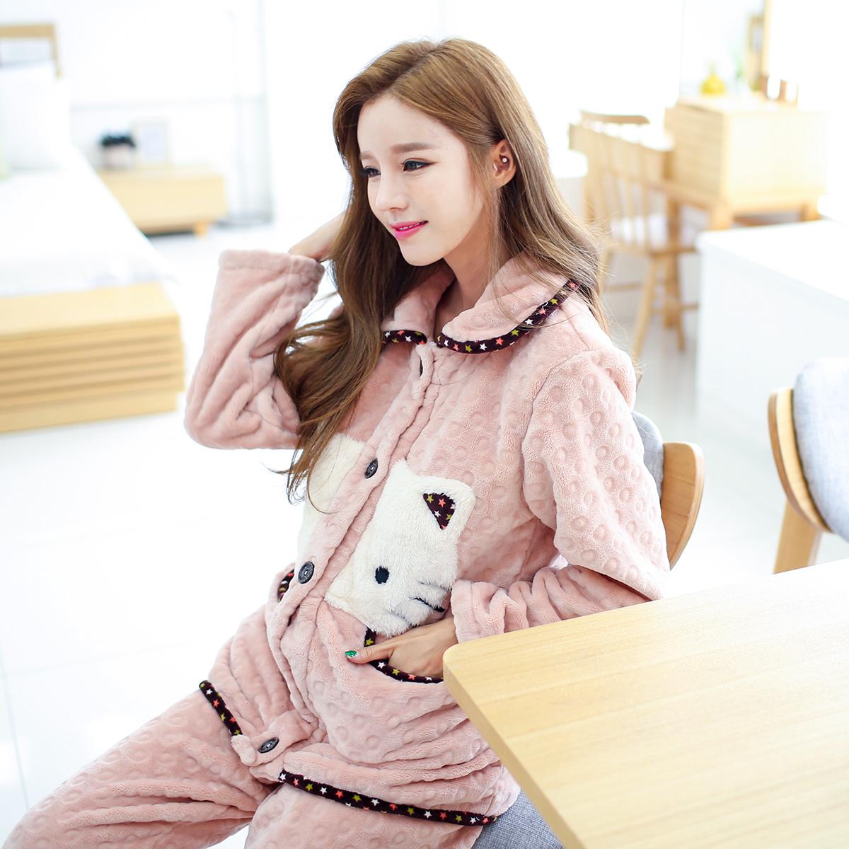 雪俐新品法兰绒睡衣家居服女款秋季韩版卡通珊瑚绒居家服可爱套装