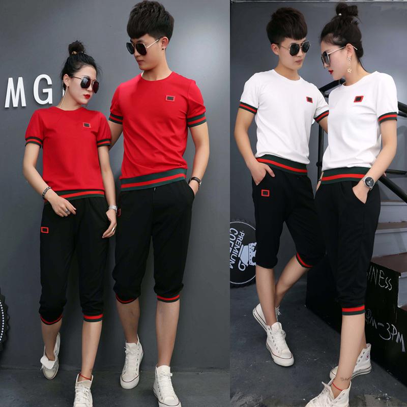 夏装学生情侣装女七分裤显瘦韩版休闲两件套短袖运动套装
