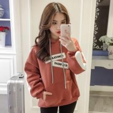冬季韩版贴布宽松bf潮ulzzang学生卫衣女连帽学院风加厚加绒外套