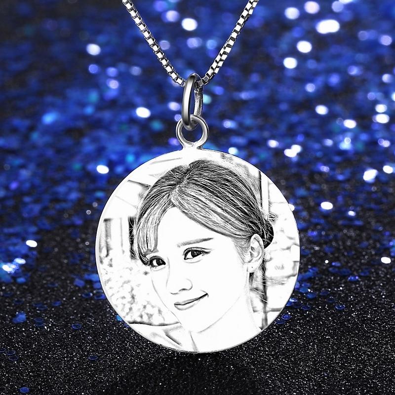 定制照片项链银牌刻字S999纯银订做情侣男女生款diy创意生日礼物