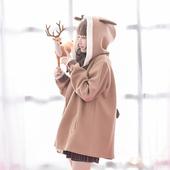 原创设计森女部落秋冬连帽毛呢外套女中长款学生呢子大衣软妹女装