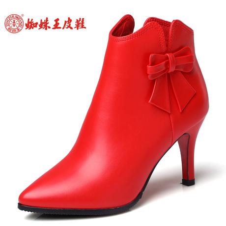 蜘蛛王18冬季加绒保暖新款红色高跟及踝靴女尖头及裸靴侧拉链短靴商品大图