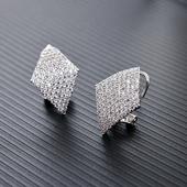 耳钉女 韩国时尚气质百搭简约菱形耳夹水晶锆石饰品 纯银耳环耳扣
