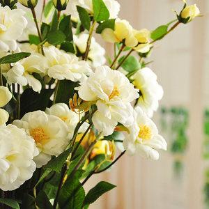 满枝包邮 MEMA  特惠  笑望冰山月季 含蓄蔷薇 仿真花绢花 F022