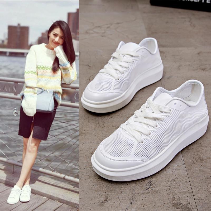 小白鞋镂空夏季运动鞋透气厚底网面女百搭韩版平底学生