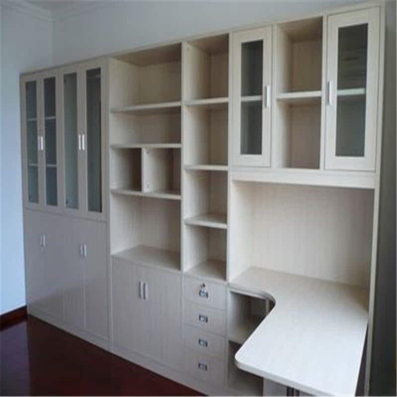 全屋定制转角l型书桌书柜储物顶柜组合定做连体书桌柜书房电脑桌图片