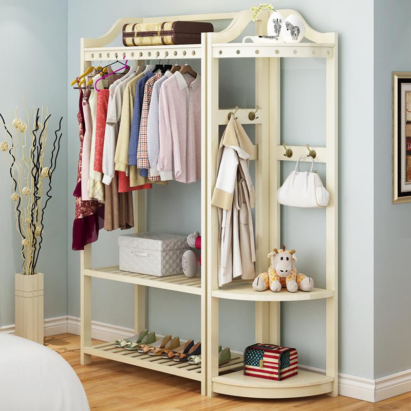 衣帽架落地实木转角组合衣柜卧室白色置物架欧式创