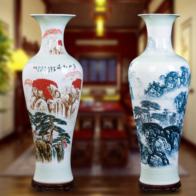 包邮 景德镇陶瓷手绘青花山水落地大花瓶客厅家居酒店装饰品摆件
