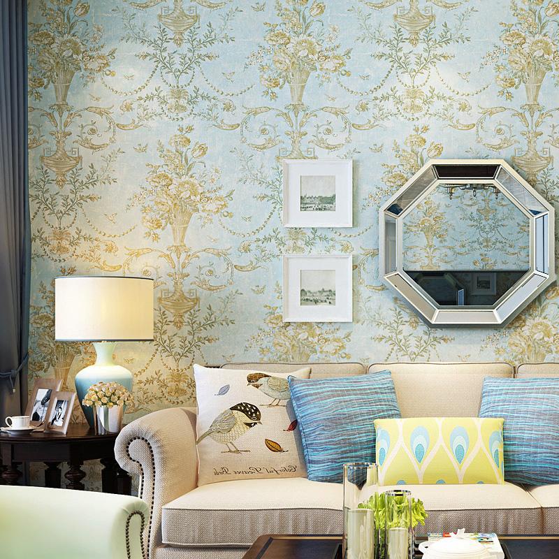 米冠怀旧美式乡村纯纸墙纸 田园花复古卧室客厅沙发电视背景壁纸