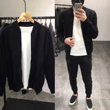 男士立领开衫修身针织外套2017秋季EA1877黑色毛衣时尚男上衣包邮
