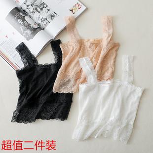夏季白色少女打底防走光蕾丝裹胸抹胸内衣性感美背短款吊带背心女