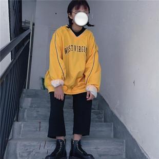 韩国vintage新款双层撞色V领口袋字母刺绣宽松大码女装复古卫衣