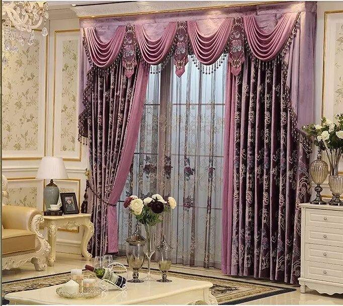 欧式高档豪华窗幔帘头别墅客厅酒店全遮光金线绣花窗帘成品定制