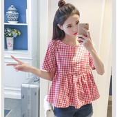 上衣高腰显瘦宽松娃娃衫 短袖 小清新格子衬衫 大码 女夏季新款 韩版