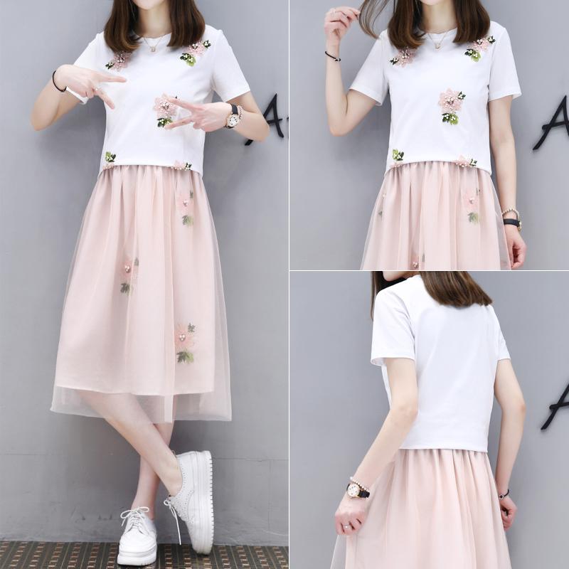 夏季套装裙女2017新款女装韩版时尚T恤网纱裙两件套学生连衣裙 潮