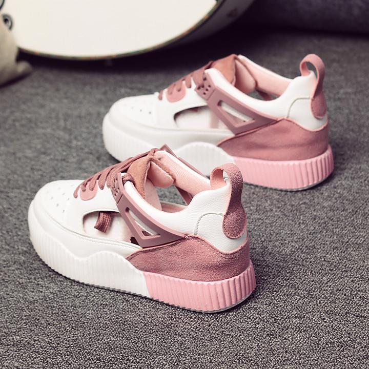 女板鞋内增高韩国休闲鞋百搭低帮系带运动鞋透气