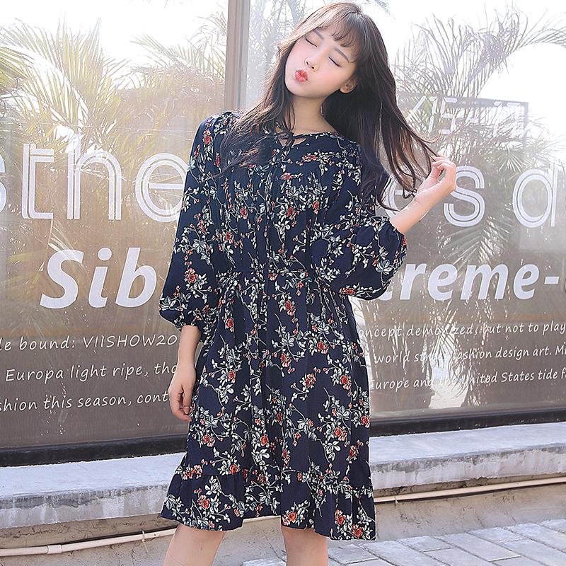 YG9388韩版大码女装雪纺裙200斤胖MM春装中长款长袖宽松连衣裙