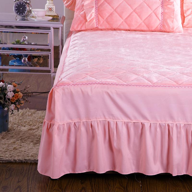 夹棉法兰绒床裙单件保暖加厚法莱绒床罩 冬季珊瑚绒床单1.5/1.8米