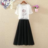 两件套连衣裙夏季新款韩版短袖罩衫雪纺背心裙套装学生长款A字裙