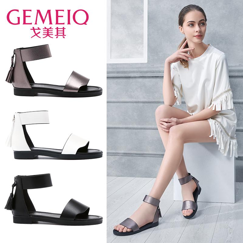 罗马流苏舒适浅口露趾欧美时装凉鞋夏季平底