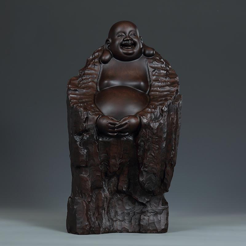 黄泉福 黑檀木雕摆件 人与自然艺术收藏品 招财弥勒佛雕刻工艺品
