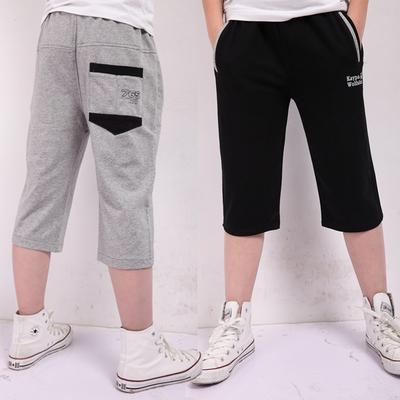 胖儿童运动短裤中大童男童宽松加肥中裤七分裤2017夏季新款薄款裤