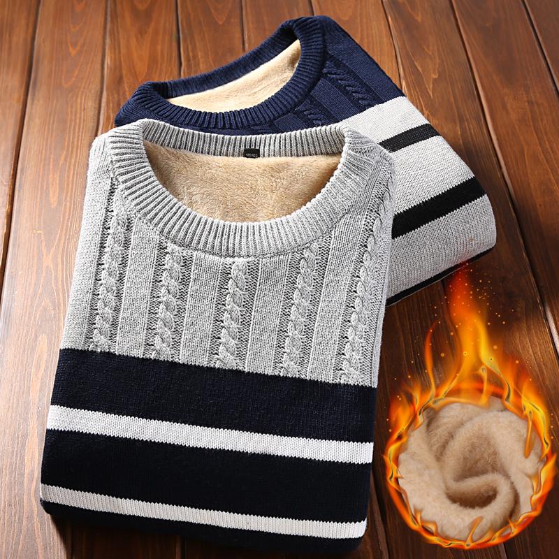 加厚秋冬男士毛衣潮流修身条纹加绒圆领青年休闲针织衫套头衫衣服