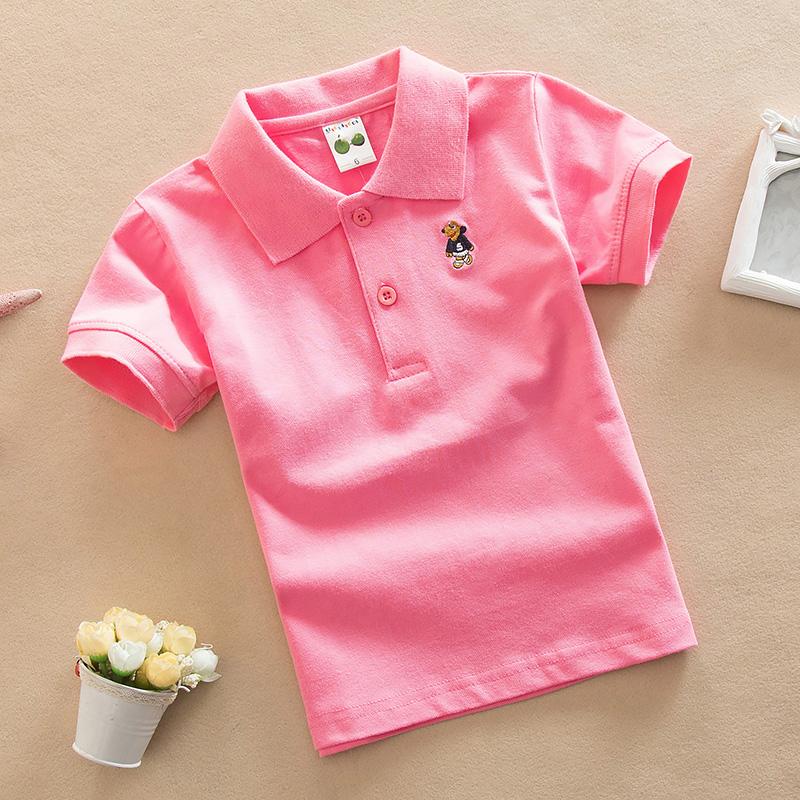 童装男童短袖T恤 夏装2017新款粉色校服儿童演出服纯棉半袖polo衫