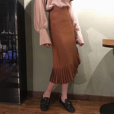 复古港风韩国chic不规则下摆褶皱A字长裙高腰百搭包臀直筒半身裙