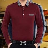 中年男t恤 大码 加绒体恤男长袖 纯色衬衫 T恤纯棉翻领爸爸装 天天特价