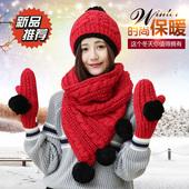 2016新款帽子围巾手套三件套女冬季加绒加厚一体套装学生韩版礼物