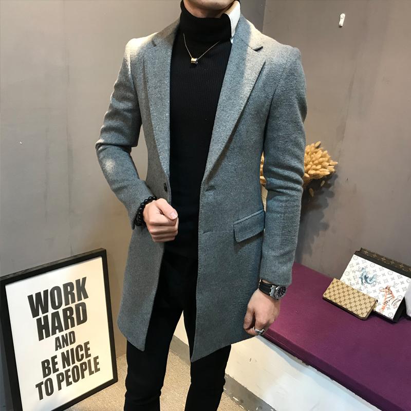 风衣男冬季中长款韩版修身帅气青年秋冬装加厚羊毛呢大衣妮子外套
