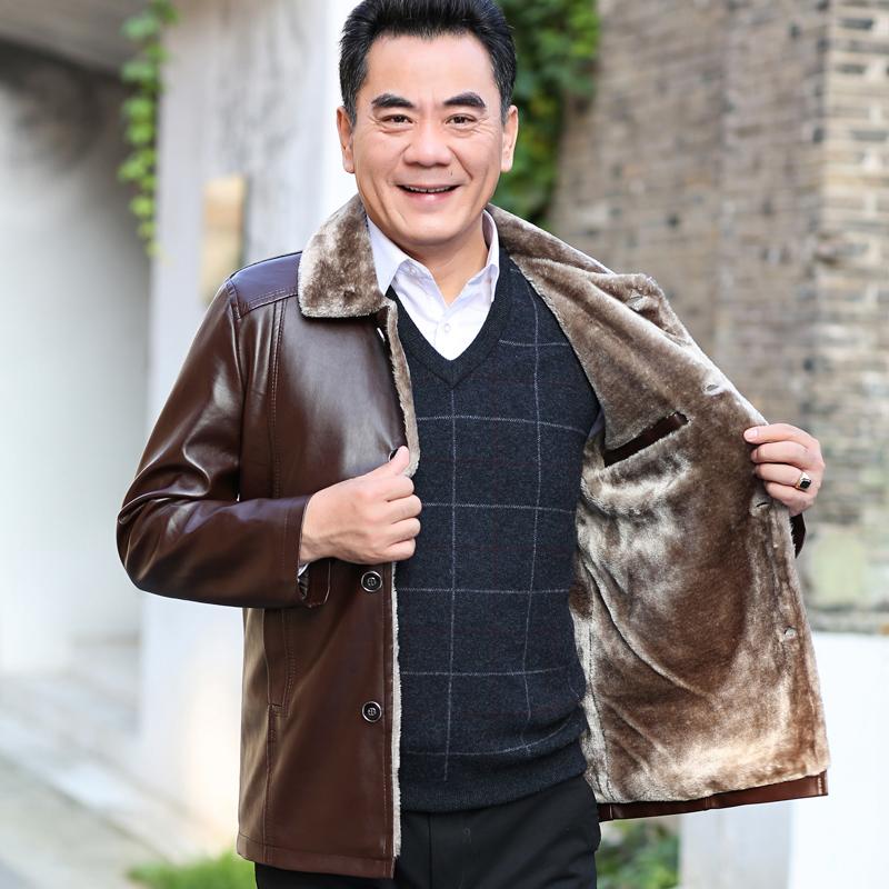 威登俊虎新款男士中年皮衣加绒加厚冬季爸爸装外套中老年皮夹克