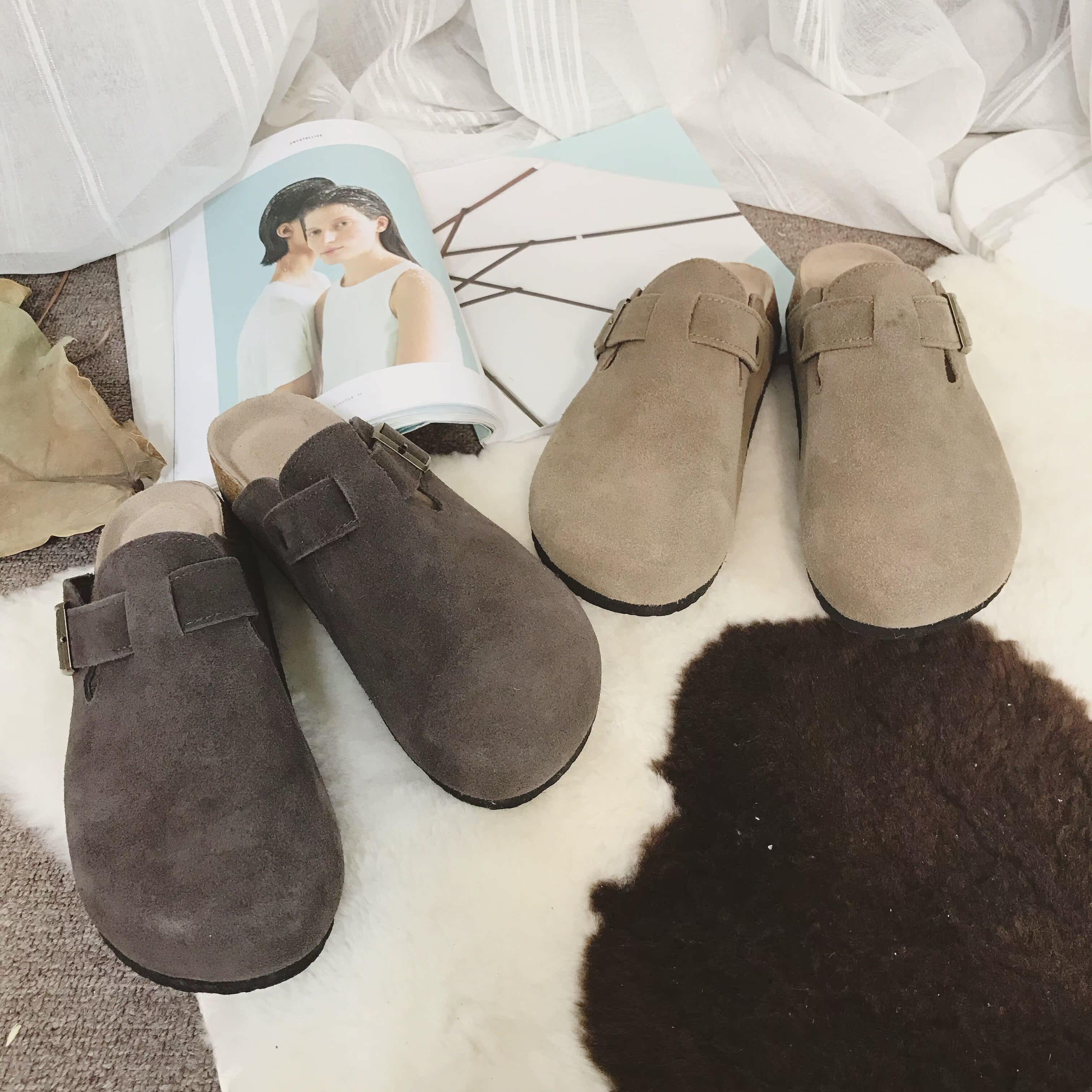 阿茶与阿古麂皮拖鞋