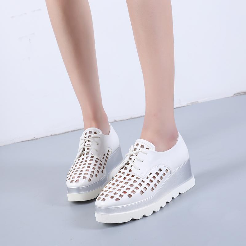 防水凉鞋系带洞洞单鞋坡跟 松糕鞋女春夏镂空女鞋平底