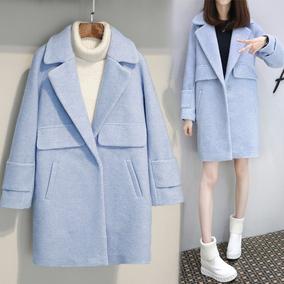 2017春装新款韩版女装呢子大衣加厚毛呢外套女中长款茧型大衣显瘦