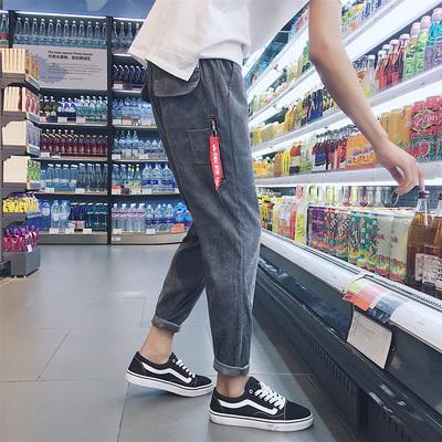2017新款灯芯绒宽松运动裤秋季男士百搭黑色休闲裤韩版潮流长裤子