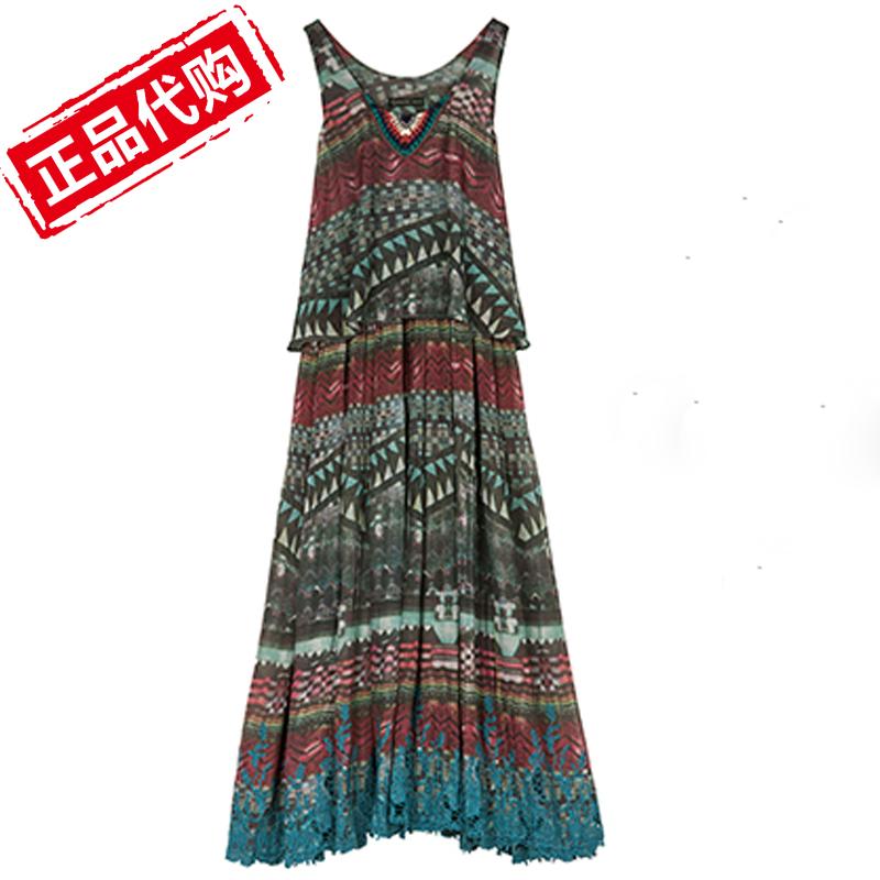 雪纺沙滩长裙子新款雅圣迪奥正品女装民族风碎花连衣裙s16281221图片