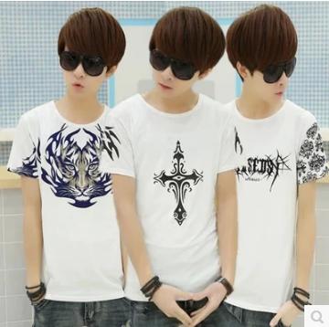 新款纯棉包邮9.9元九块九男装圆领修身潮韩版T恤短袖9块特价10元