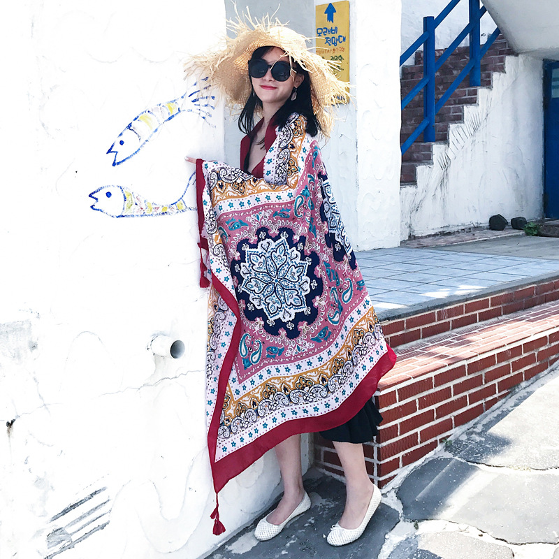 丝巾女夏季海边沙滩巾防晒披肩围巾两用韩版长款百搭薄款超大纱巾